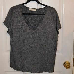 Urban Outfitters Grey Textured Knit V-Neck Tee, M